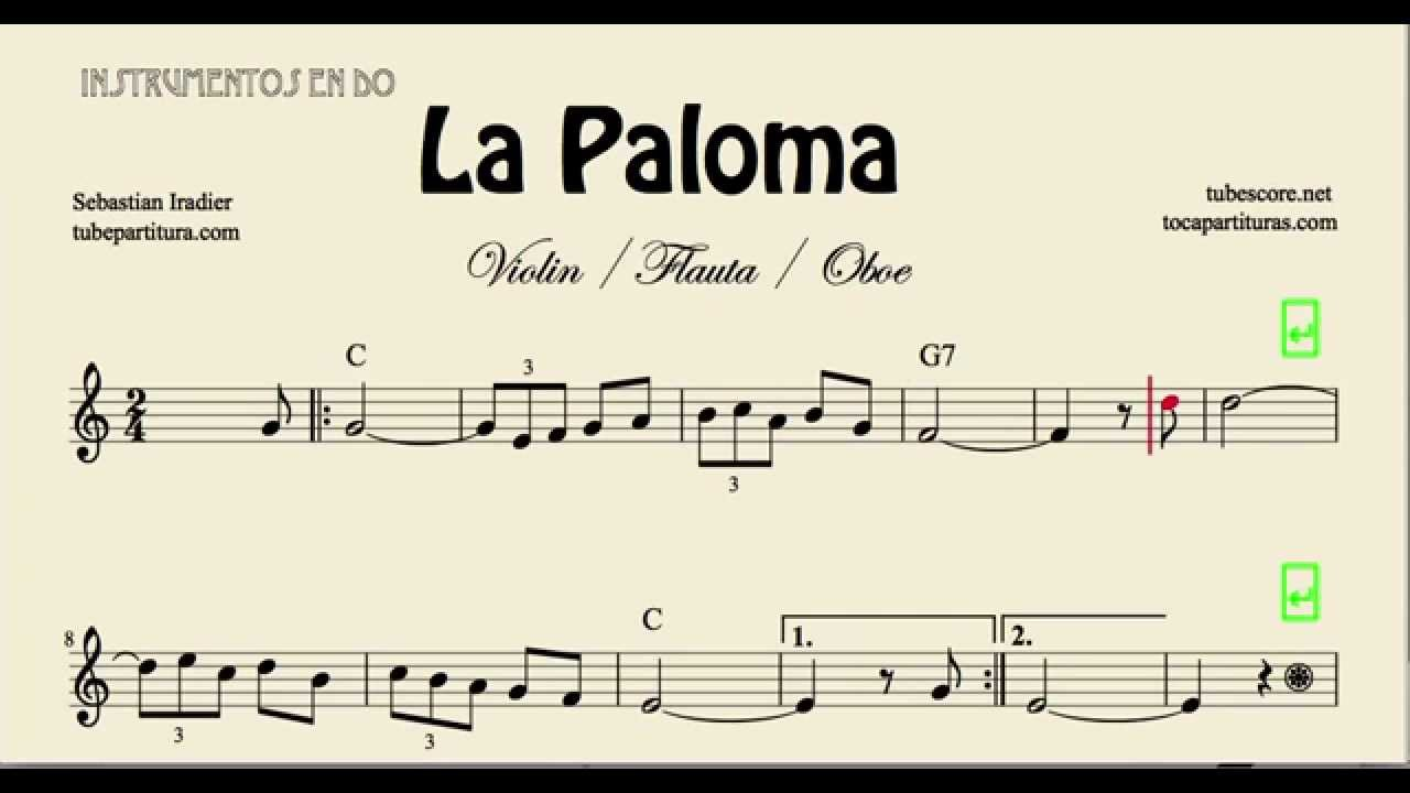 La Paloma Sheet Music for Flute Violin and Oboe - YouTube