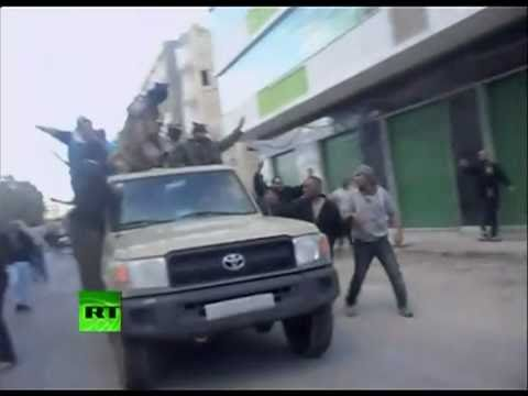 Libya- Army troops joining anti-Gaddafi protesters in Benghazi 2-24-11