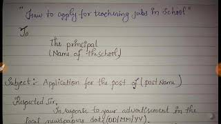 Write Application for teaching job in DPS school