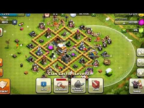 Clash of Clans: BEST town hall level 6 defensive setup!!! With defensive replay!!!