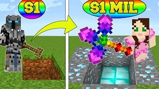 Minecraft: 1 DOLLAR SHOVEL VS 1,000,000 DOLLAR RAINBOW SHOVEL!!! Crafting Mini-Game