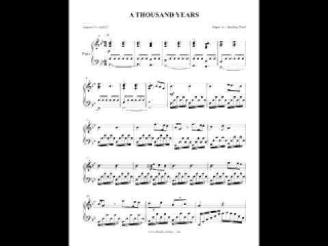 A Thousand Years  Christina Perri  Piano  + SHEETS