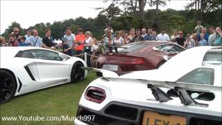 REV WAR @ Wilton House, One-77, MP4-12C, Carrera GT, Decatted Enzo, Agera! HUGE REVS