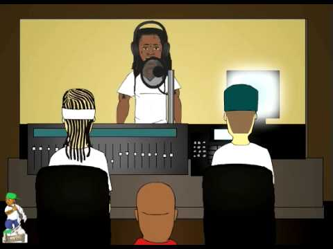 cartoon parody featuring Play N Skillz in the studio with Lil Wayne,