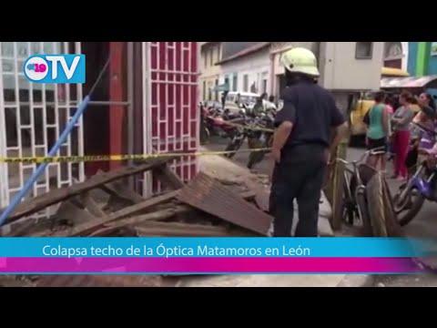 Colapsa techo de la Óptica Matamoros en León