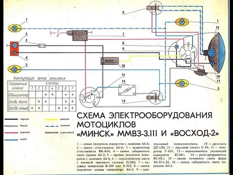 Схема проводки для 6 вольтового мотоцикла