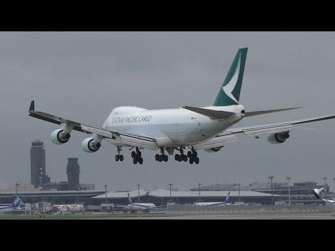 ✈新塗装 Cathay Pacific Cargo B747 B-LIB landing @Narita Airport rwy34L(成田空港/WX970M)