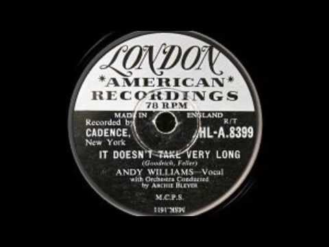 Andy Williams 'It Doesn't Take Very Long' 78 rpm