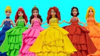 Поделки из пластилина Play-Doh: куклы Принцессы Диснея. Лепим наряды из Плей До
