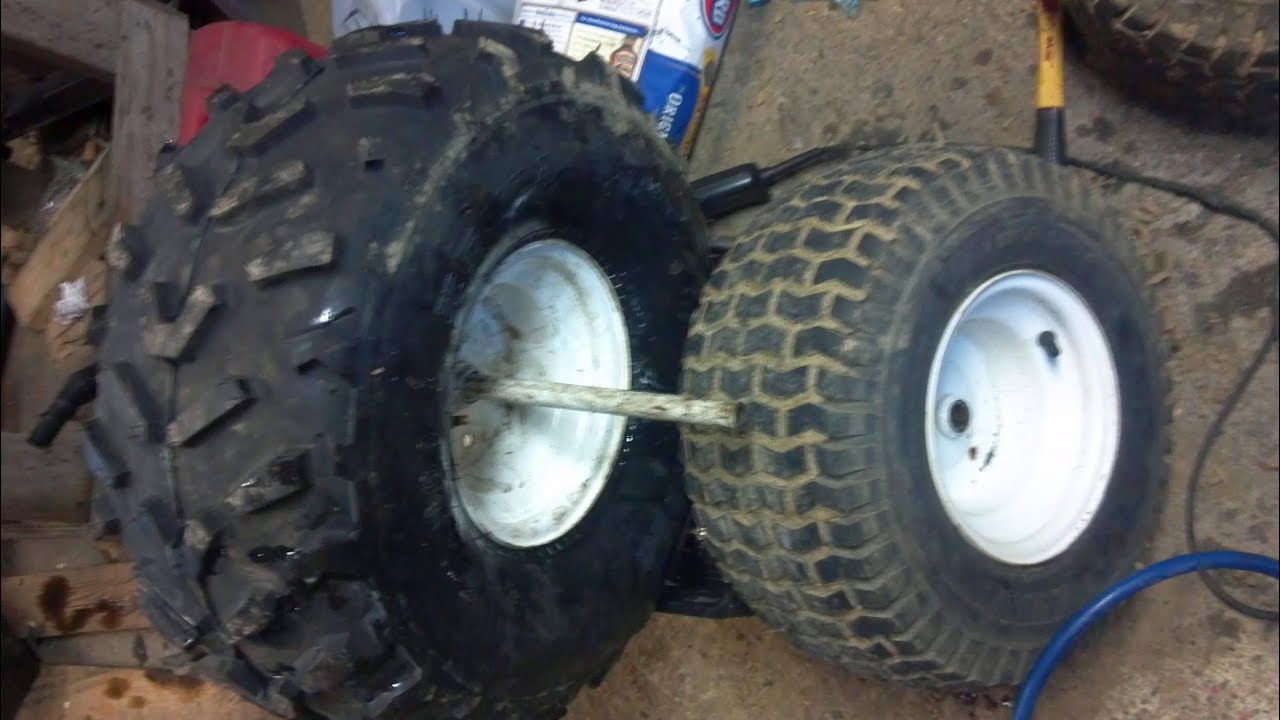 How To Mount Atv Tire On Lawn Tractor Rim Youtube
