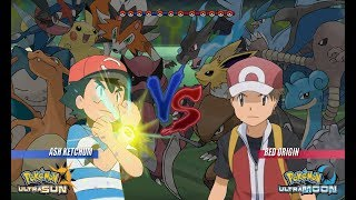 Pokemon Battle USUM: Ash Vs Red Origins (Pokémon Origins, Pokemon Wifi Battle)