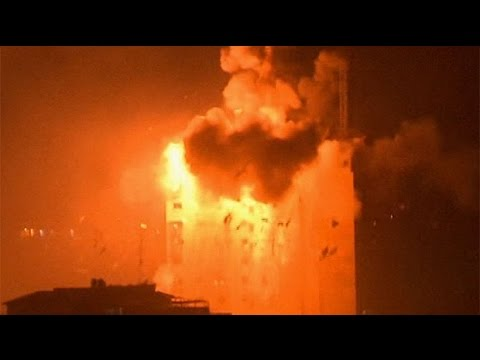 Israel-Gaza conflict: massive explosions as air strikes hit Hamas media building