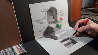 How to Draw 3D Staircase, Art Drawing Stairs