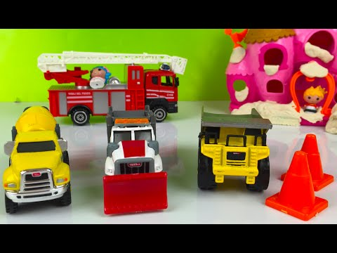 Play Doh play with Tonka DieCast Construction Kids Vehicles Cement Mixer Snowplow dump truck