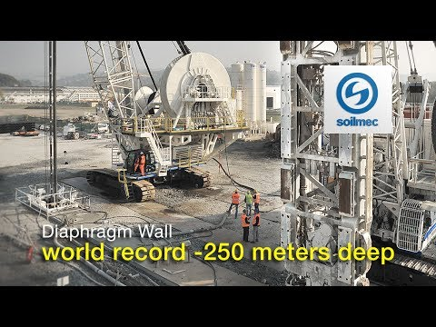 Soilmec  World record -250 meter deep Hydromill Technology Diaphragm Wall [slurry wall]