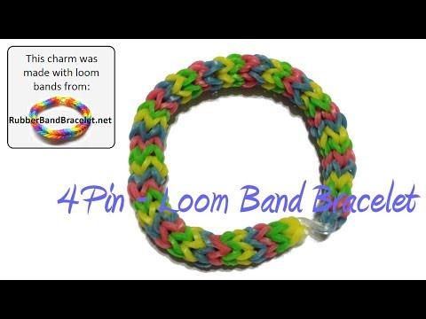 DIY 4 Pin Simple Weave Loom Band Bracelet - Using Homemade Loom