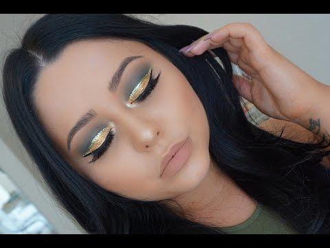Olive Gold Glitter Cut Crease Makeup Tutorial
