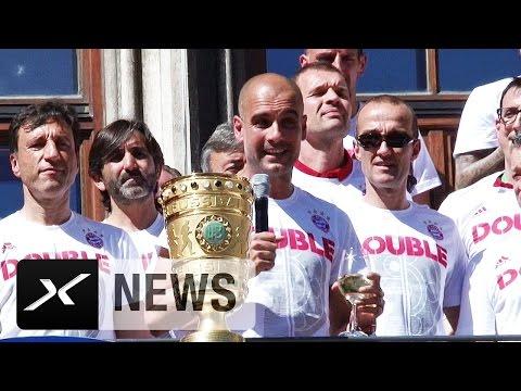 "Pep Guardiola sagt Servus zu den Fans: ""Mia san mia"" | FC Bayern München feiert Double"