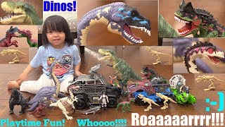 Dinosaur Toys Playtime Fun! Unboxing Dinosaur Play Sets. T-Rex, Velociraptor and More! Godzilla!