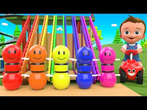 Little Baby Fun Learning Colors for Children with Bowling Pins Tumbling Toy Set Play 3D Kids Edu