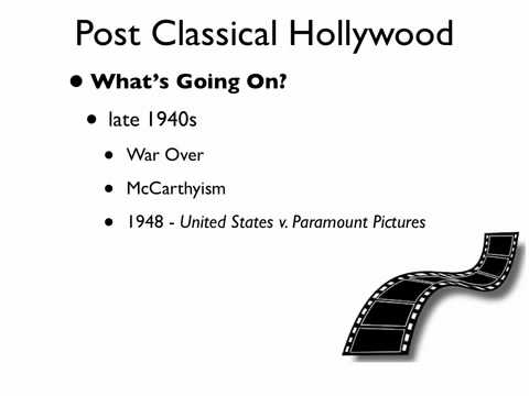 classical and post classical hollywood cinema Analyzing the classical hollywood cinema as a group style is the work of this entire book part one has indicated that this concept has a valid claim for a concrete historical existence as a group style by systematically surveying typical films, we have been able to verify and refine that group style as a.