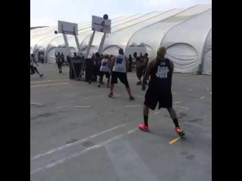 Chris Brown Playing Basketball At Nike's 3ON3 Tournament
