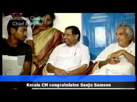 Oommen Chandy and Ministers visit Sanju V Samson, Cricketer