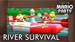 Super Mario Party - River Survival Mode (4 Players Co-Op Gameplay)