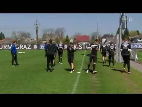 Gute Stimmung beim Training nach dem 2-0 in Wien gegen Rapid. :D.