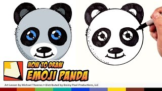 How to Draw a Cute Panda Emoji for Beginners Step by Step - Draw a Panda Bear Face