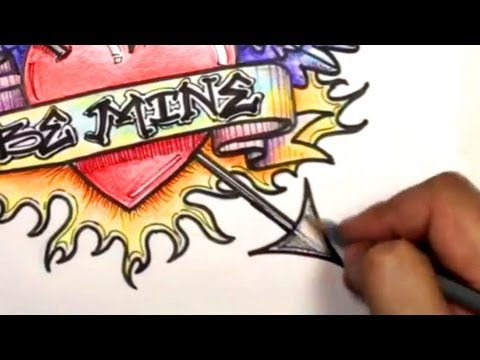How to Draw a Heart: Ultimate Graffiti Heart Design with Banner, Wings, Arrow and Flames | MAT