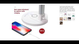 TaoTronics LED Desk Lamp with Fast Wireless Charger, 7.5W for iPhone X, 8 & 8 Plus with HyperAir