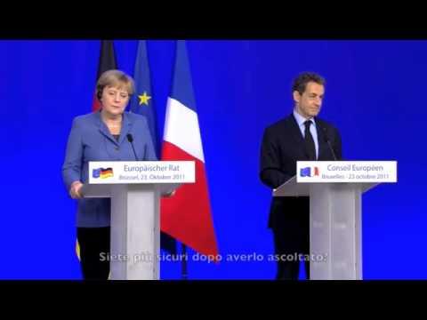 Merkel e Sarkozy ridono di Berlusconi (23-10-2011)