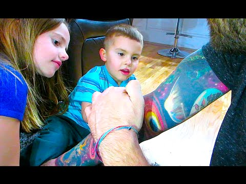 Kids Inspecting Tattoos! video