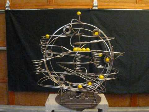 Stephen Jendro Rolling Ball Sculpture - Kinetic Stainless Steel Metal Art - Marble Machine