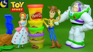 NEW Toy Story Play Doh Toys Buzz Lightyear Woody Bo Peep 2019 Unboxing Disney Toy Videos for Kids
