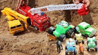 Excavator Crane Truck Rescue Animals Cars Toys for Children Songs