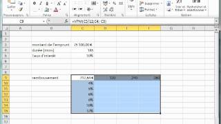 table a double entree dans Excel 2010