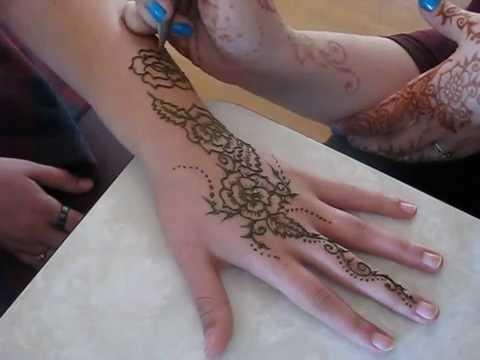 rose hand henna mehndi design pattern demonstration
