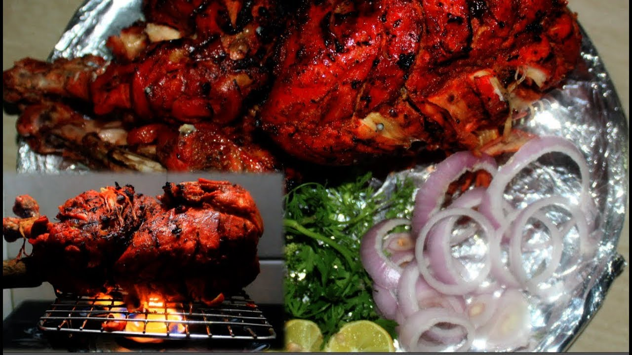 Whole tandoori chicken in oven