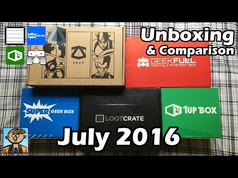 July 2016 Unboxing & Comparison - Loot Crate, Geek Fuel, Super Geek Box, 1Up Box & ZBOX Review