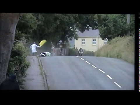 andy cowin parting company with his bike at stadium bend. plus a few hairy moments with andy fenton . and other mishaps at the southern hundred isle of man ....
