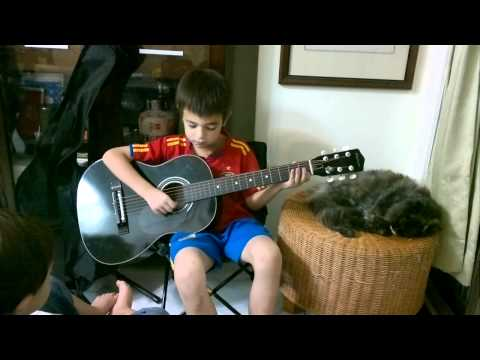 Ethan Plays Happy Birthday On His Acoustic Guitar For His Cousin Sarah, 20110920