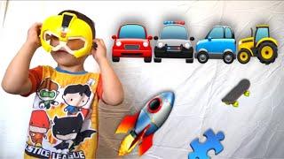 Rockin Robin- kids pj mask car, blaze cars and playing with blocks
