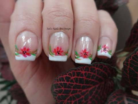 Nail Art Design Classic French Manicure Tutorial Spring Wild Flowers For Beginners