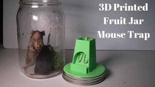 3D Printed Fruit Jar Mouse Trap based on a 1927 Patent. Invented by a Youtube Viewer
