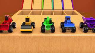 Learn Colors Construction Vehicle Toys VS Tractors Magic Liquid Nursery Rhymes & Kids Songs