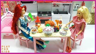 Barbie Bedroom Cleaning Morning Routine with Breakfast Cooking Toys