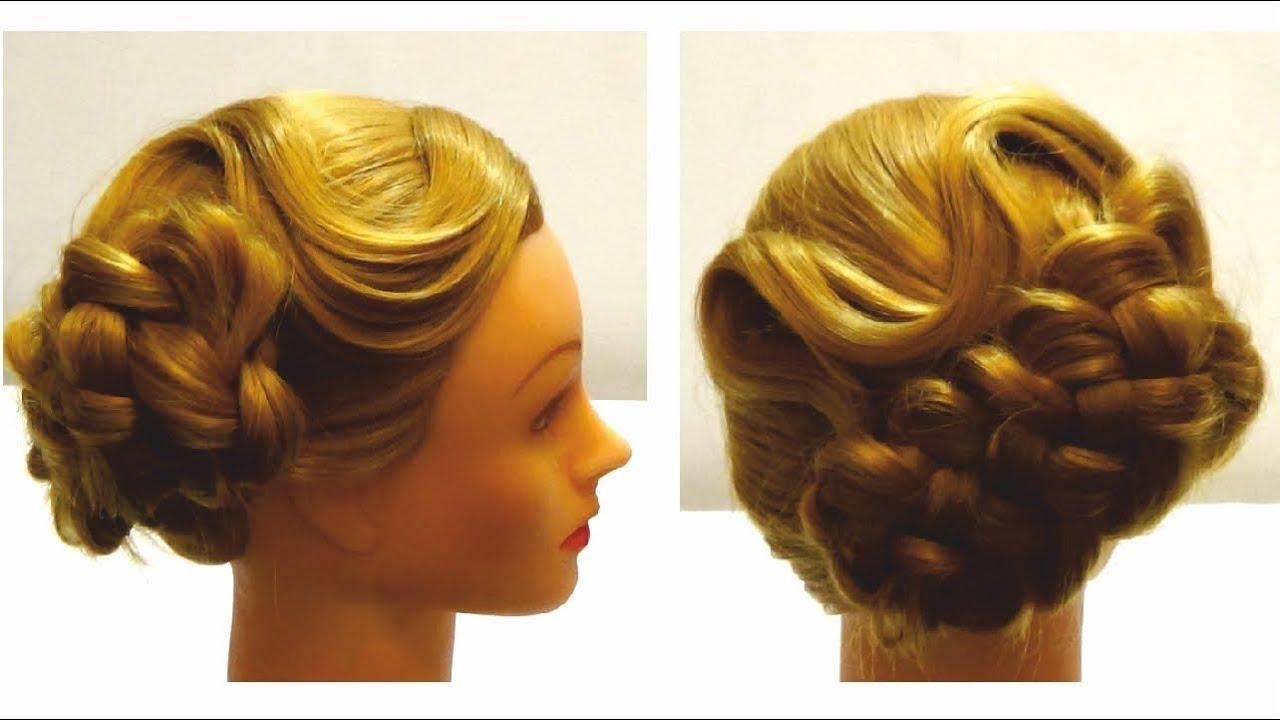 Праздничные прически на средние волосы с косами своими руками 82