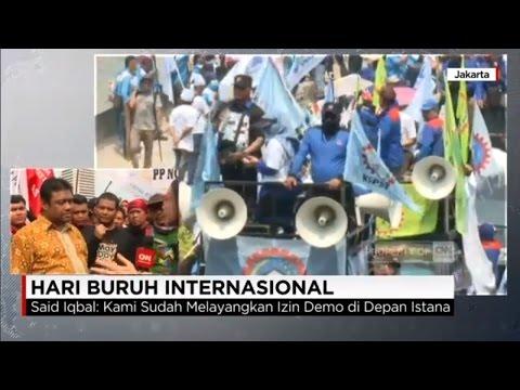 Meski Jokowi Tidak di Istana, Aksi Buruh Coba Tembus Barikade Polisi ke Istana - May Day 2017